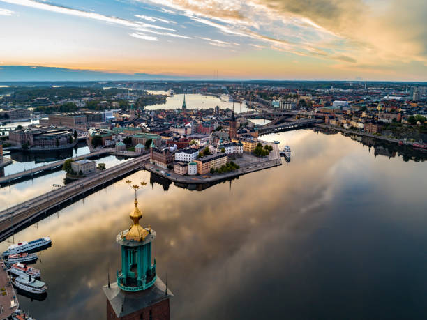 Aerial view over Riddarholmen in Stockholm Aerial view over Riddarholmen in Stockholm. Town Hall in the foreground. stockholm stock pictures, royalty-free photos & images