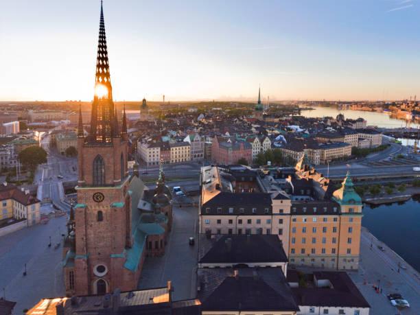 Aerial view over Riddarholmen Stockholm stock photo