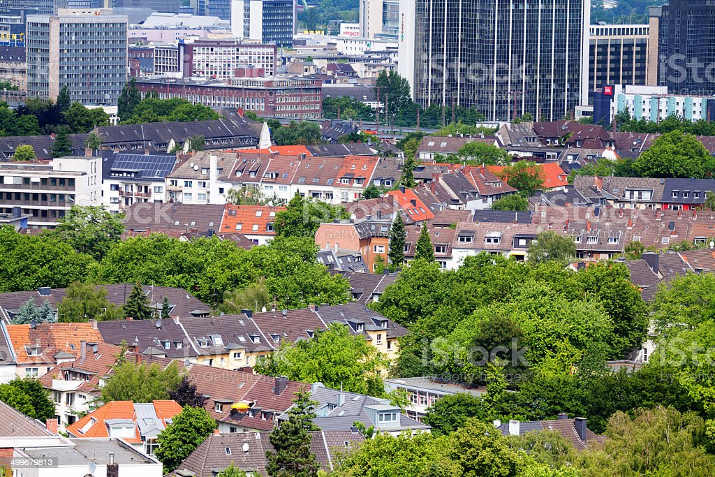 Aerial view over roofs in Essen stock photo