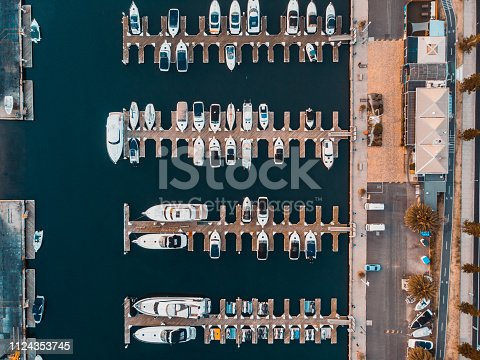 1066331604 istock photo Aerial View over Sailing club and boats 1124353745