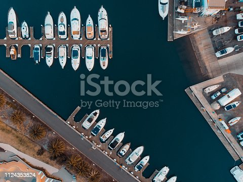 1066331604 istock photo Aerial View over Sailing club and boats 1124353824