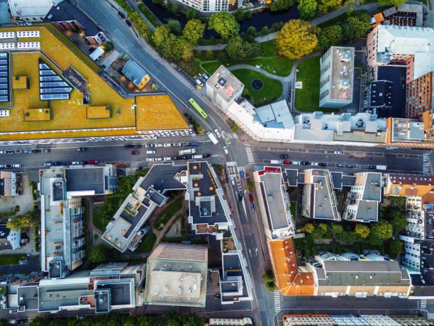 Aerial view over Scandinavian city stock photo