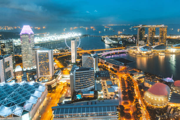Aerial View Over Singapore stock photo