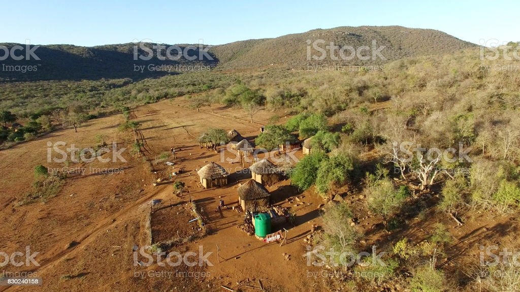 Aerial view over small african village stock photo