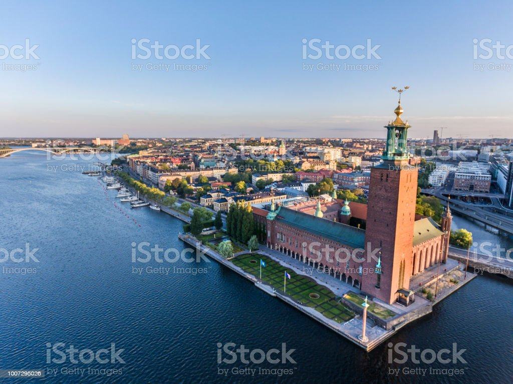 Aerial view over Stockholm Old Town Hall stock photo
