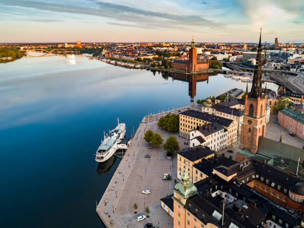 Aerial view over Stockholm stock photo
