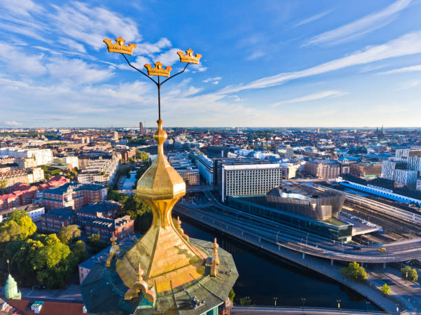 Aerial view over Stockholm Town Hall stock photo