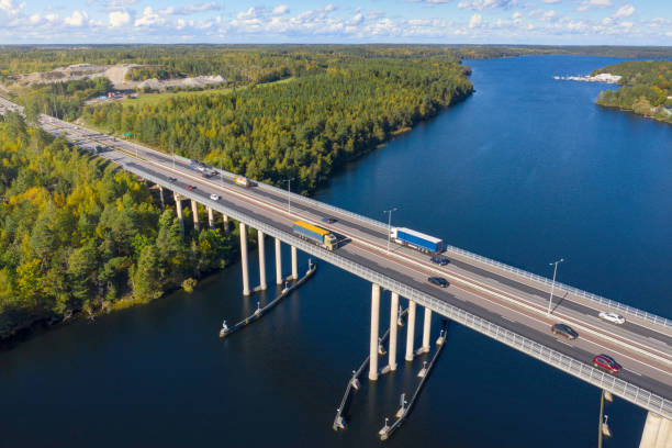 Aerial view over swedish highway stock photo