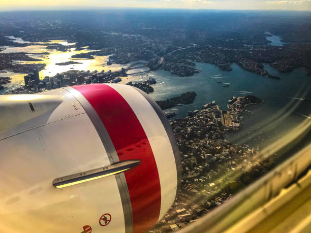 Aerial View Over Sydney From a Jet Aeroplane stock photo