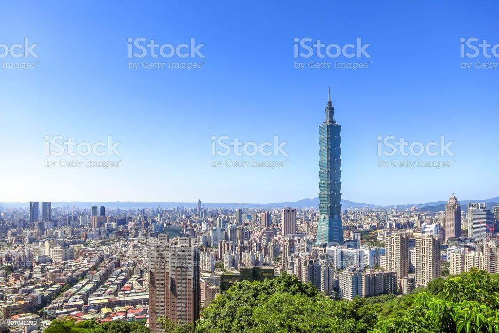 Luftaufnahme über Taipei City Taipei 101 Wolkenkratzer, Kapital Stadt von Taiwan – Foto