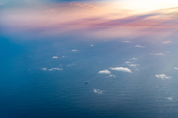 Aerial View over Tasman Sea From Sydney to Auckland by a Jet Plane, New South Wales, Australia stock photo