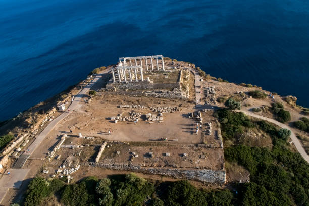 Aerial view over the ancient Temple of Poseidon at Cape Sounio, Attica, Greece
