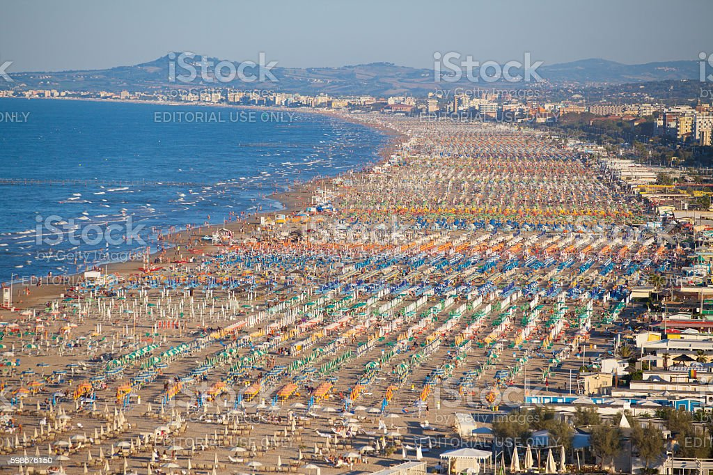 Aerial view over the beach of Rimini stock photo