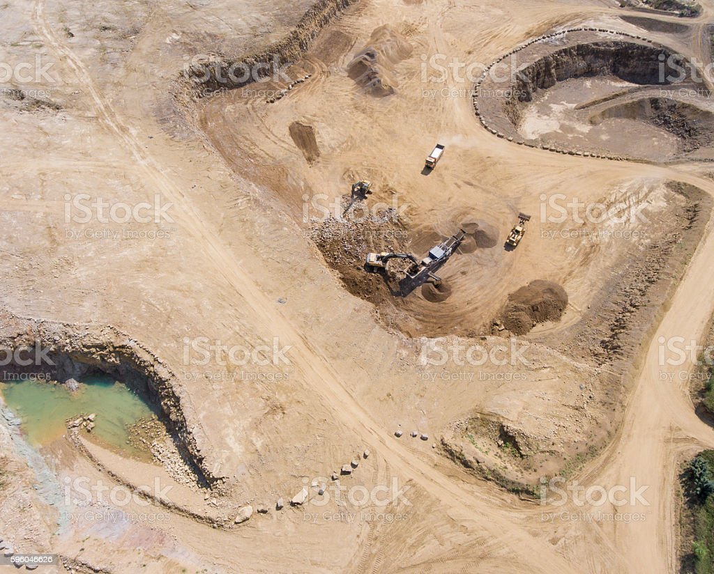 Aerial view over the building materials processing factory. royalty-free stock photo