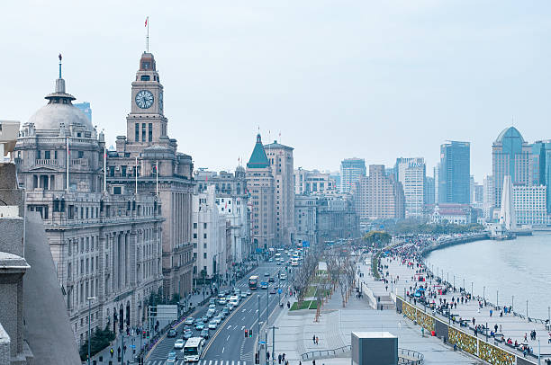 Aerial view over the Bund, Shanghai, China Aerial view over the Bund, Shanghai, China pudong stock pictures, royalty-free photos & images
