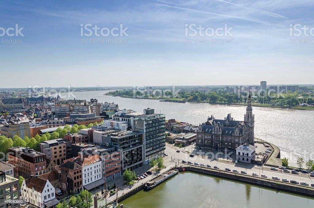 Vue aérienne sur la ville d'Anvers, en Belgique - Photo