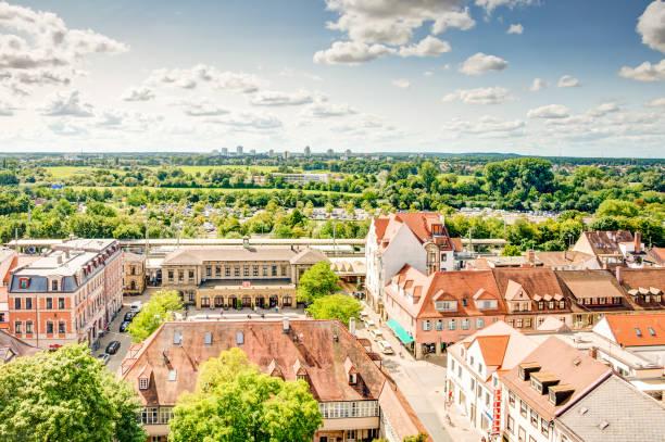 Aerial view over the city of Erlangen Erlangen: Aerial view over the city of Erlangen, Germany on August 20, 2017. erlangen stock pictures, royalty-free photos & images