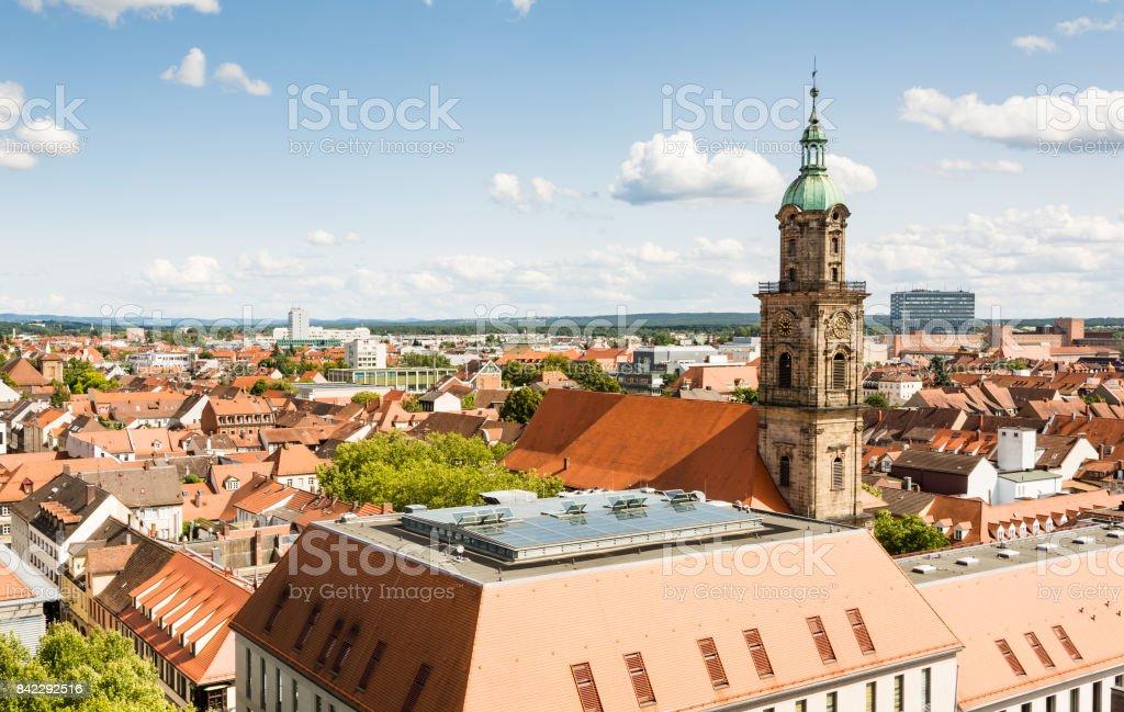 Luftaufnahme über der Stadt Erlangen - Lizenzfrei Architektur Stock-Foto