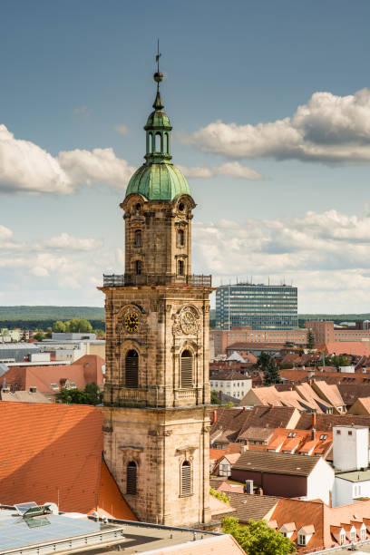 Aerial view over the city of Erlangen ERLANGEN, GERMANY - AUGUST 20: Aerial view over the city of Erlangen, Germany on August 20, 2017. View to the Neustädter Kirche church. erlangen stock pictures, royalty-free photos & images