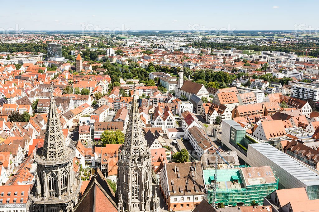 Aerial view over the city of Ulm royalty-free stock photo