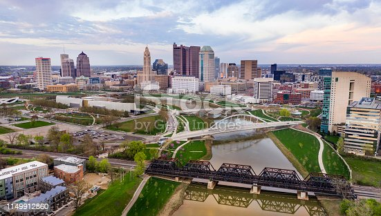 Sunset comes to the downtown urban core of Columbus Ohio