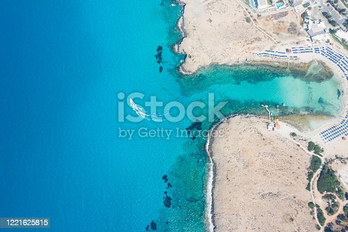 This aerial image was taken way above the spectacular and colourful coast of Ayia Napa.