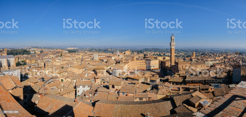 Aerial view over the medieval city of Siena, Italy including Il Campo stock photo