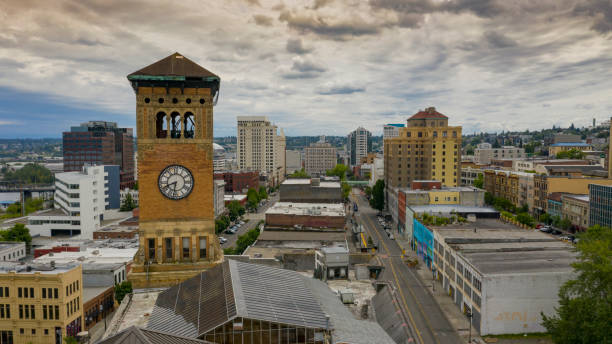Aerial View Over The Old City Hall Clock Tower and Downtown Tacoma Washington stock photo