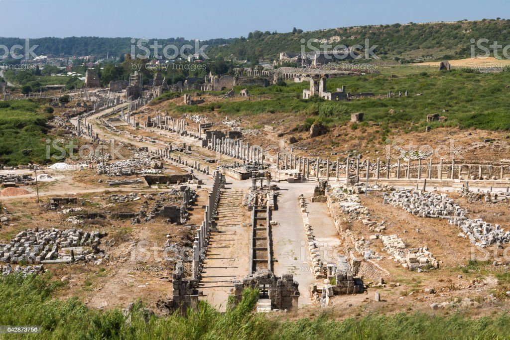 Aerial view over the Roman ruins of Perge in Antalya. stock photo
