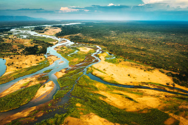 Aerial View over the Zambezi River, Zambia stock photo