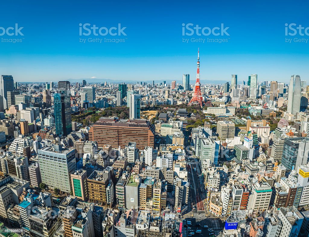Aerial view over Tokyo cityscape Mt Fuji Tokyo Tower Japan stock photo