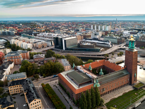 Aerial view over Town Hall in Stockholm stock photo