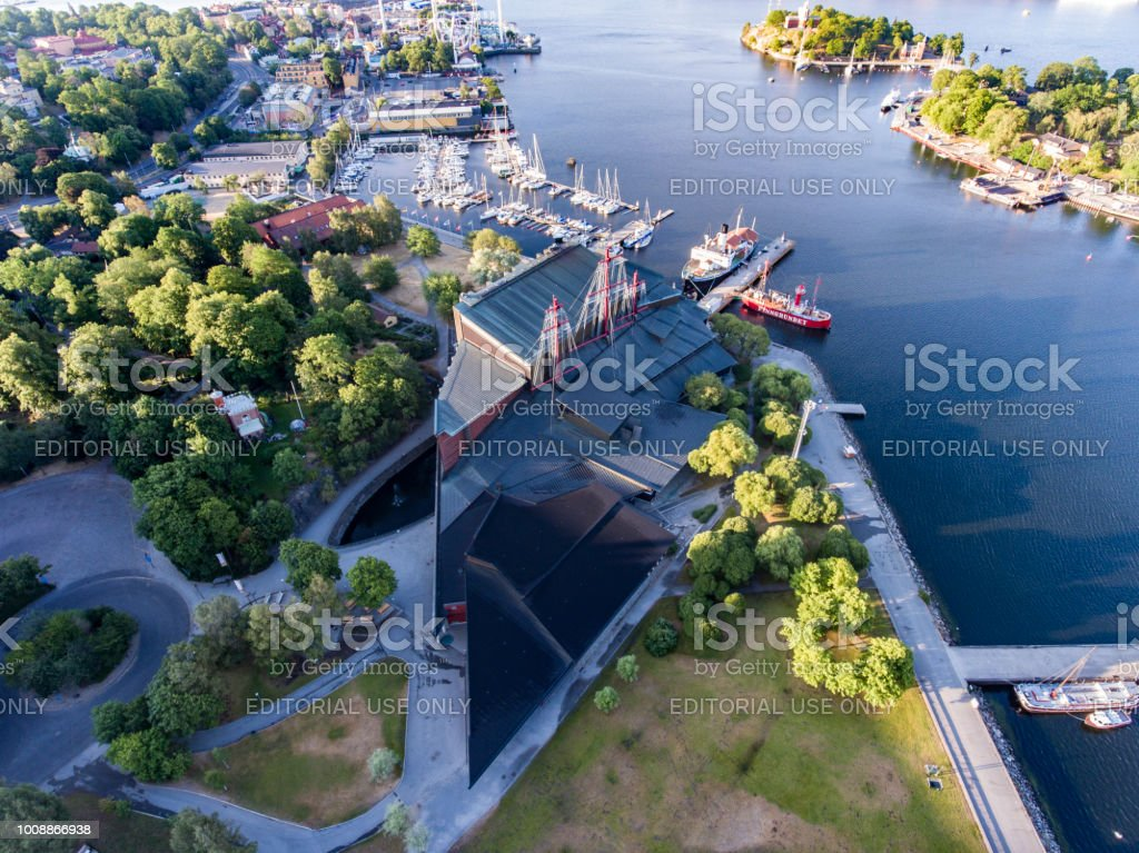 Aerial view over Vasa Museum in Stockholm stock photo
