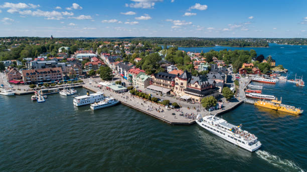 Aerial view over Vaxholm in Stockholm archipelago stock photo