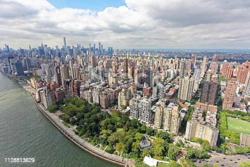 Wide-angle aerial view over Yorkville and Upper East Side, Manhattan, looking south-west towards Central Park