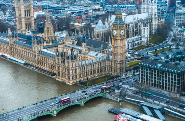 Aerial view overlooking London and Big Ben clock tower stock photo