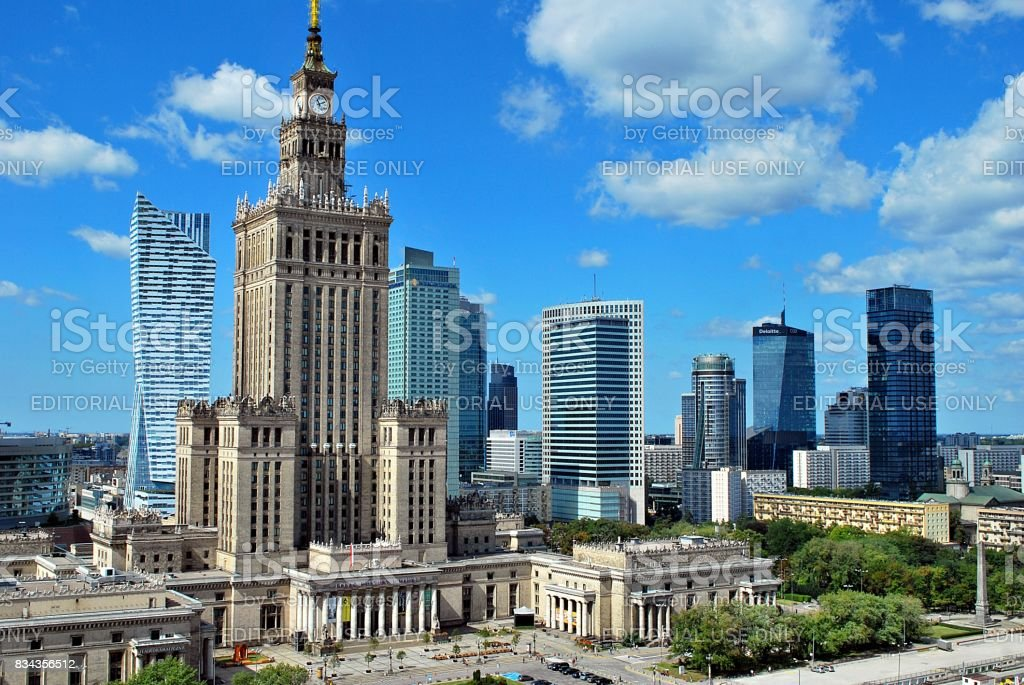 Aerial view Palace of Culture and Science stock photo