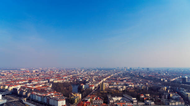 aerial view panorama of Berlin with blue sky stock photo