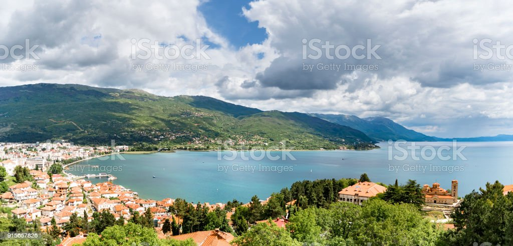 Aerial view panorama of Ohrid lake, Macedonia with view of old town, port and church Clement and Panteleimon, Plaoshnik stock photo