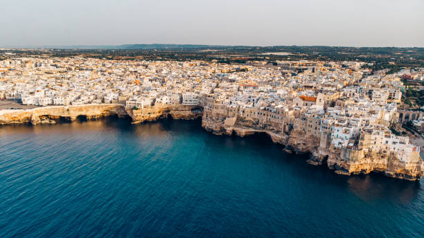 Aerial View panorama of town Polignano a Mare stock photo