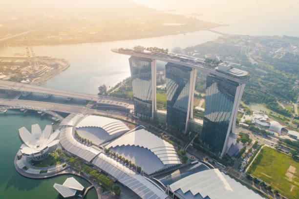 aerial view panoramic of the singapore skyline and marina bay, the marina is the centre of the economy in singapore, there are here all the building in singapore central ed - marina bay sands stock photos and pictures
