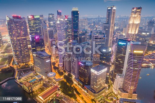 Aerial view Panoramic of the Singapore Skyline and Marina Bay, the marina is the centre of the economy in singapore, there are here all the building of all the majors bank and insurance.
