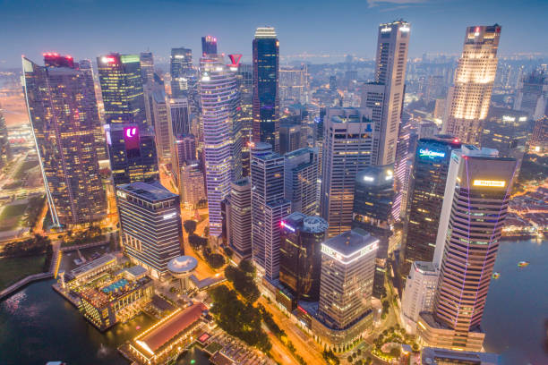 Aerial view Panoramic of the Singapore Skyline and Marina Bay, the marina is the centre of the economy in singapore, there are here all the building in singapore central stock photo