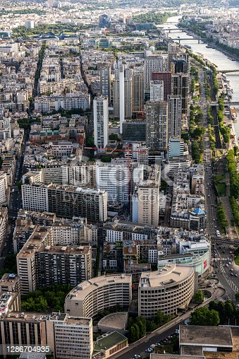 Aerial view Parisian cityscape from Tour Eiffel in France.
