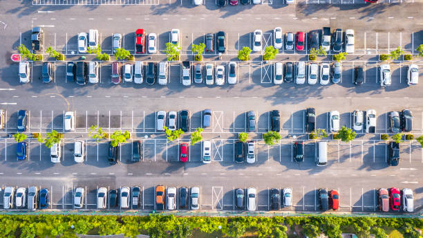 Aerial view  Parking lot and car stock photo