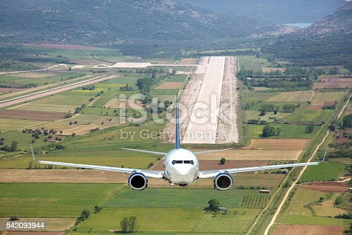 494996104istockphoto Aerial view passenger plane take off 542093944