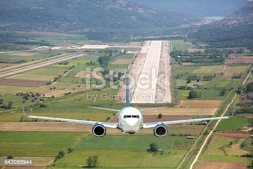 494996104 istock photo Aerial view passenger plane take off 542093944