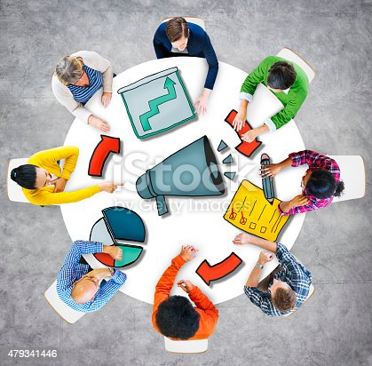 istock Aerial View People Megaphone Business Authority Corporation Conc 479341446