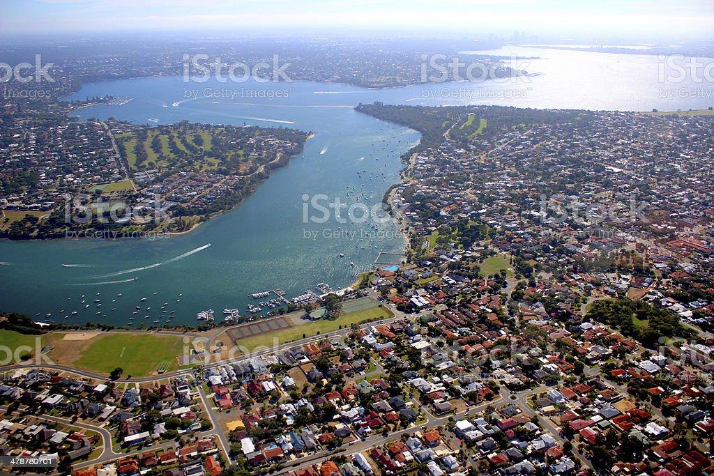 Aerial View Perth WA Swan river stock photo