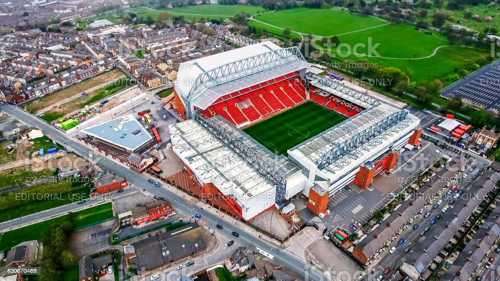 Aerial View Photo of Anfield Stadium in Liverpool stock photo